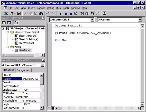 Figure 4.  Adding the UserForm's VBA Code